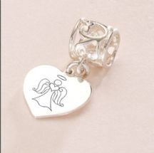 Angel Memorial Charm, Sterling Silver, Personalised
